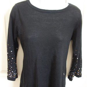 Unbranded Black Sweater w Gems Sleeves Fits Small